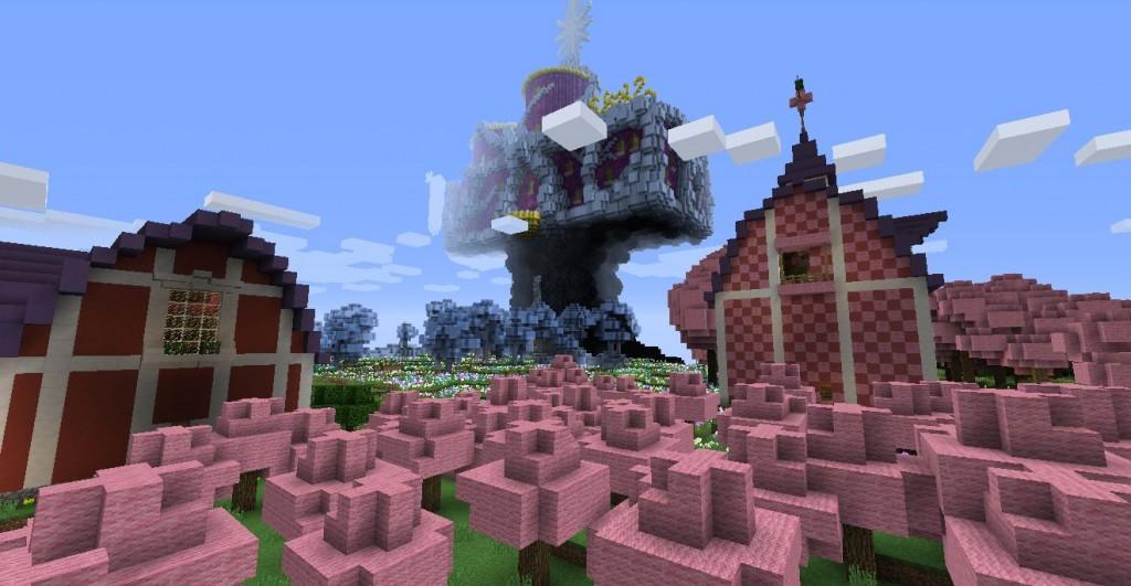 Puunmuotoinen linna, punaisia taloja ja vaaleanpunaisia puita.