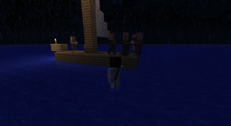 Jeesus saapuu opetuslasten luo pimeällä järvellä. Veneessä on hämmästyneitä hahmoja.