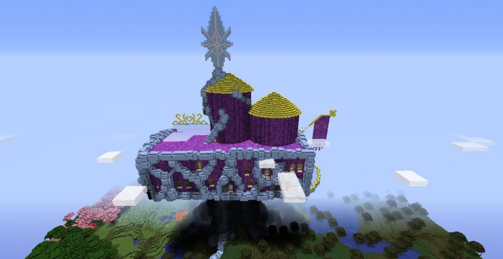 Violetin värinen linna kuvattu ylhäältä.