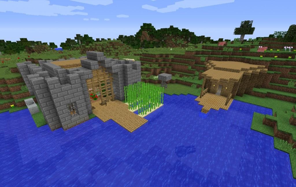 Linnan näköinen rakennelma rannalla.
