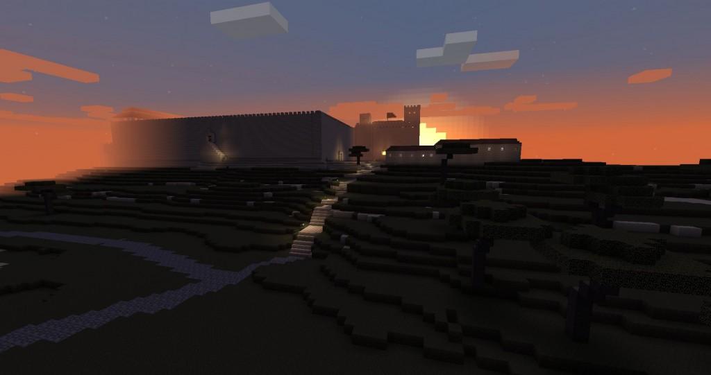 Ilta-aurinko. Taustalla näkyy kaupungin muuri.