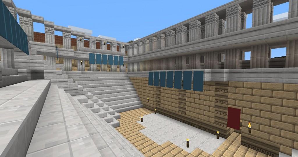 Antiikin teatterilat näyttävä rakennus.