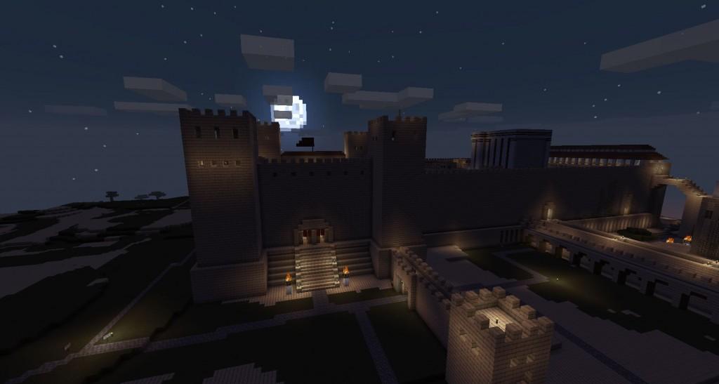 Jerusalem yöllä. Kuu taivaalla.
