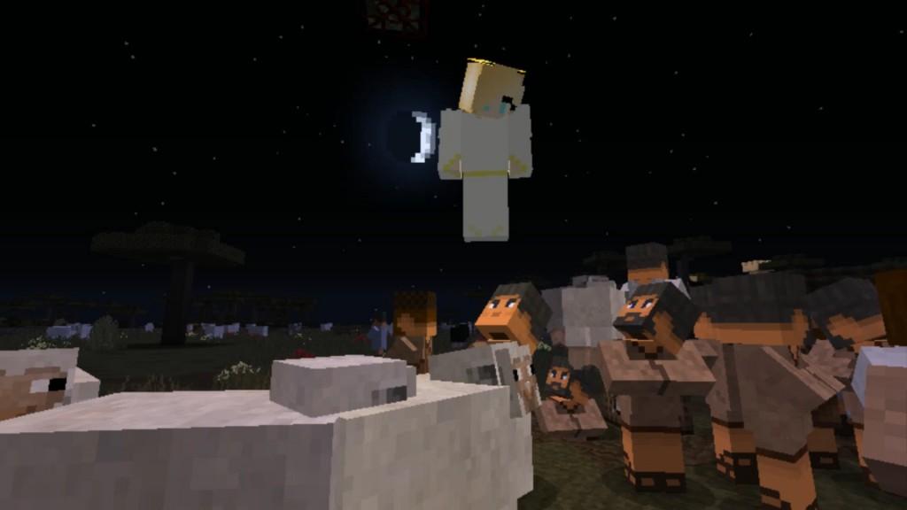 Enkeli ilmesty paimenille kedolla yöllä. Lampaita ympärillä.