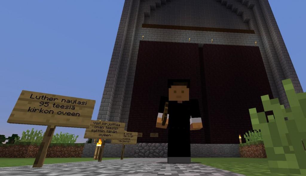 Lutheria kuvaava pelihahmo seisoo rakennuksen edessä.