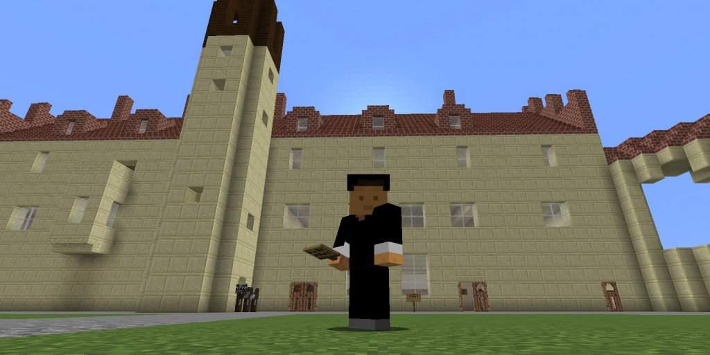 Luther seisoo suuren rakennuksen edessä.