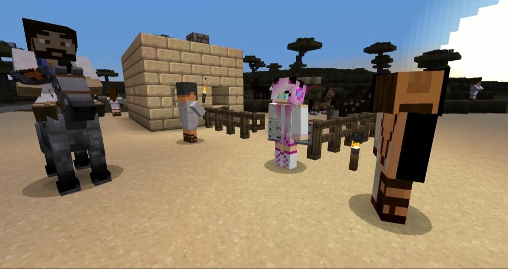 Jeesusta esittävä pelihahmo ratsastaa aasilla. Vieressä seisoo kolme pelihahmoa.