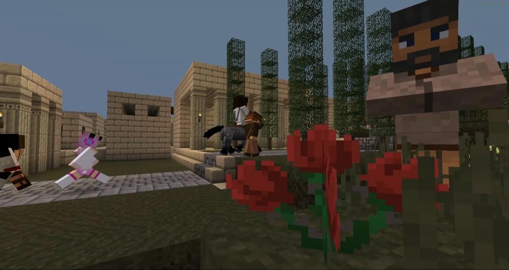 Jeesusta esittävä pelihahmo ratsastaa aasilla kadulla. Ympärillä rakennuksia ja pelihahmoja.