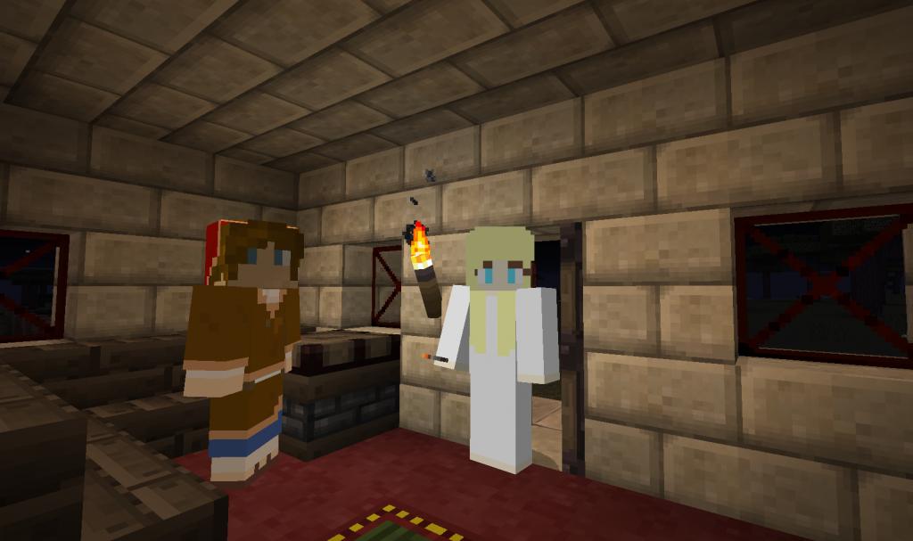 Naista ja miestä esittävät pelihahmot seisovat huoneessa.