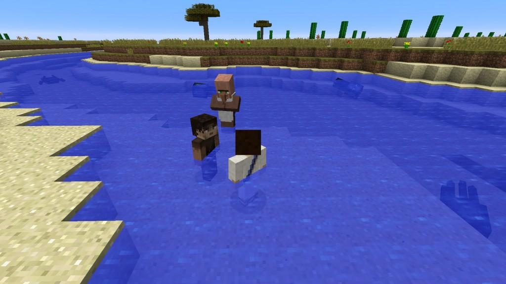Kolme pelihahmoa esittämässä kastetilannetta.