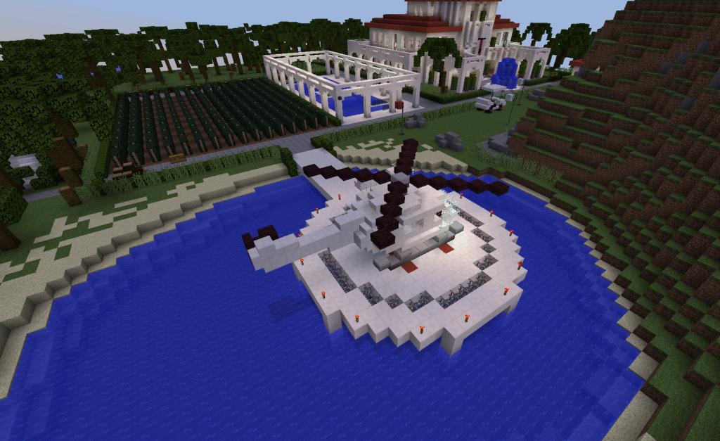 Veden päällä on laskeutumispaikka ja helikopteri.