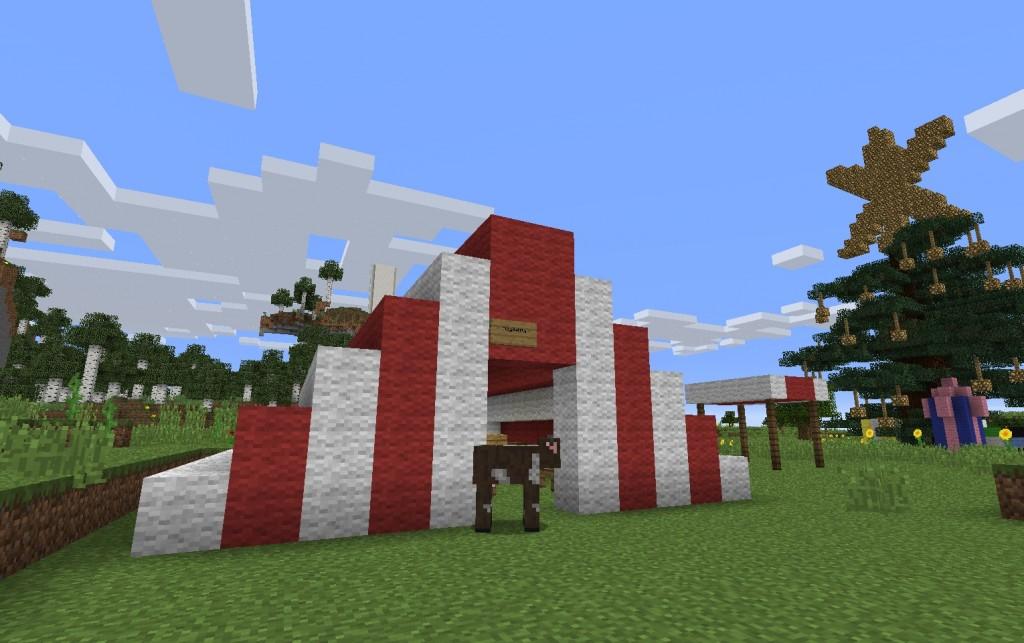 Punavalkoinen rakennelma.