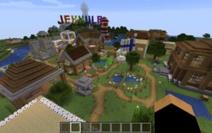 Rakennuksia, Suomen lippu, vihreä nurmikko ja taustalla lukee Jekkula.