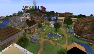 Rakennettu kylä Minecraftissa.