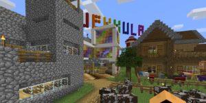 Kylä Minecraftissa. Taivaalla lukee Jekkula.
