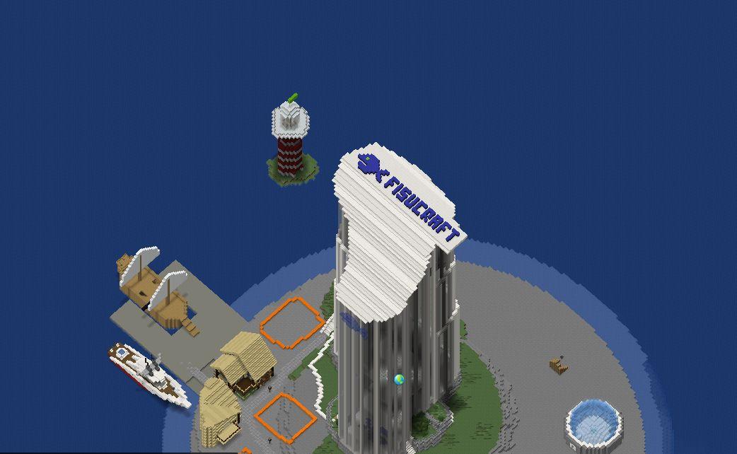 Ylhäältä alaspäin kuvattu rakennus, jonka katossa lukee Fisucraft.