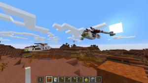 Kaksi helikopteria Minecraftissa.