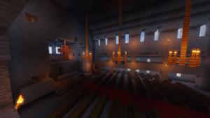 Kirkon sali Minecraftissa. Taustalla risti.