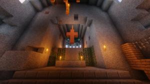 Kirkon seinä, alttari ja risti Minecraftissa.