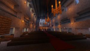 Kirkon sali Minecraftissa.