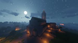 Taustalla yötaivas. Kirkko kuvattu ylähäältä.