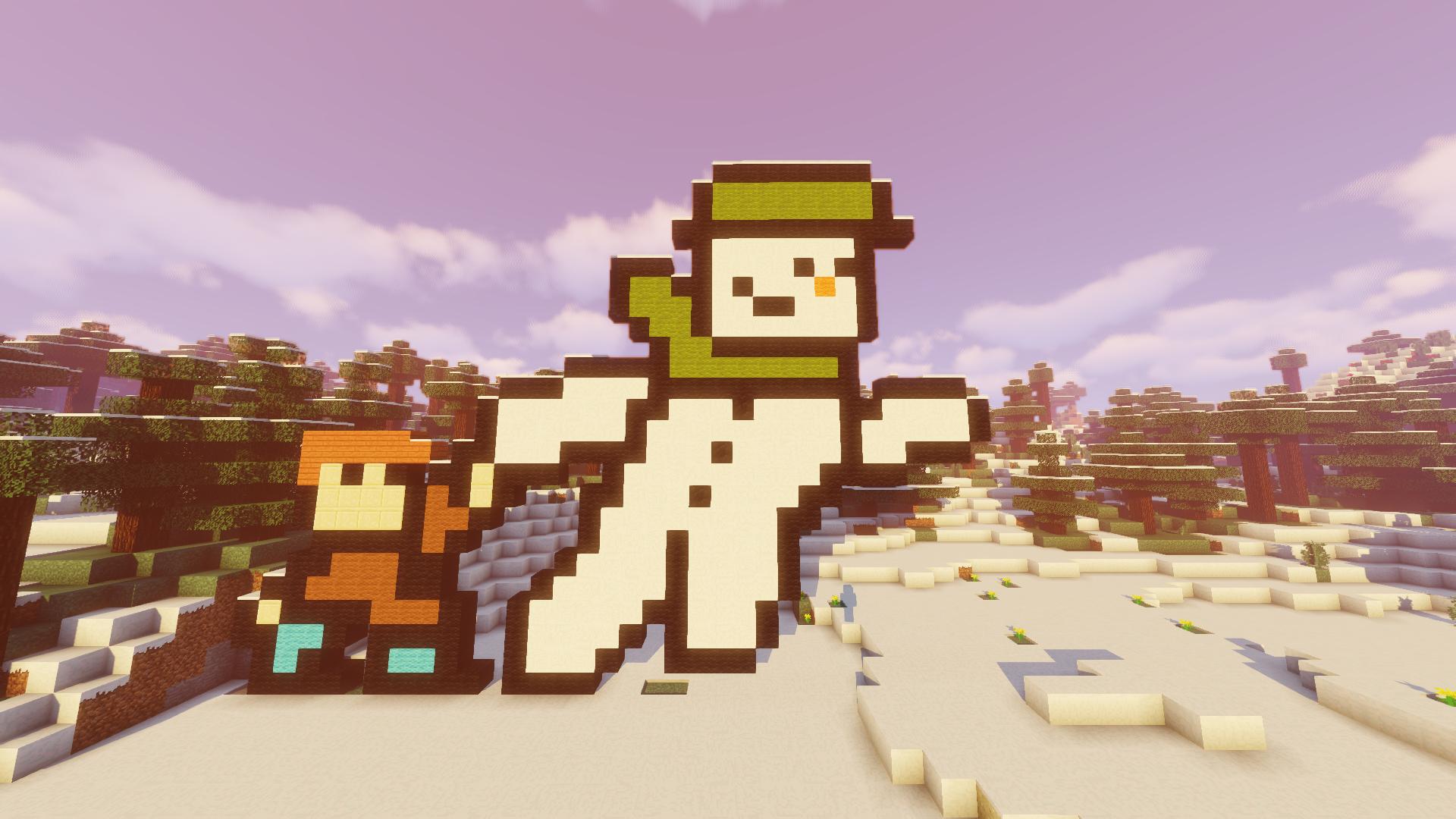 Rakennelma Minecraftissa, joka kuvaa lumiukkoa ja lasta.