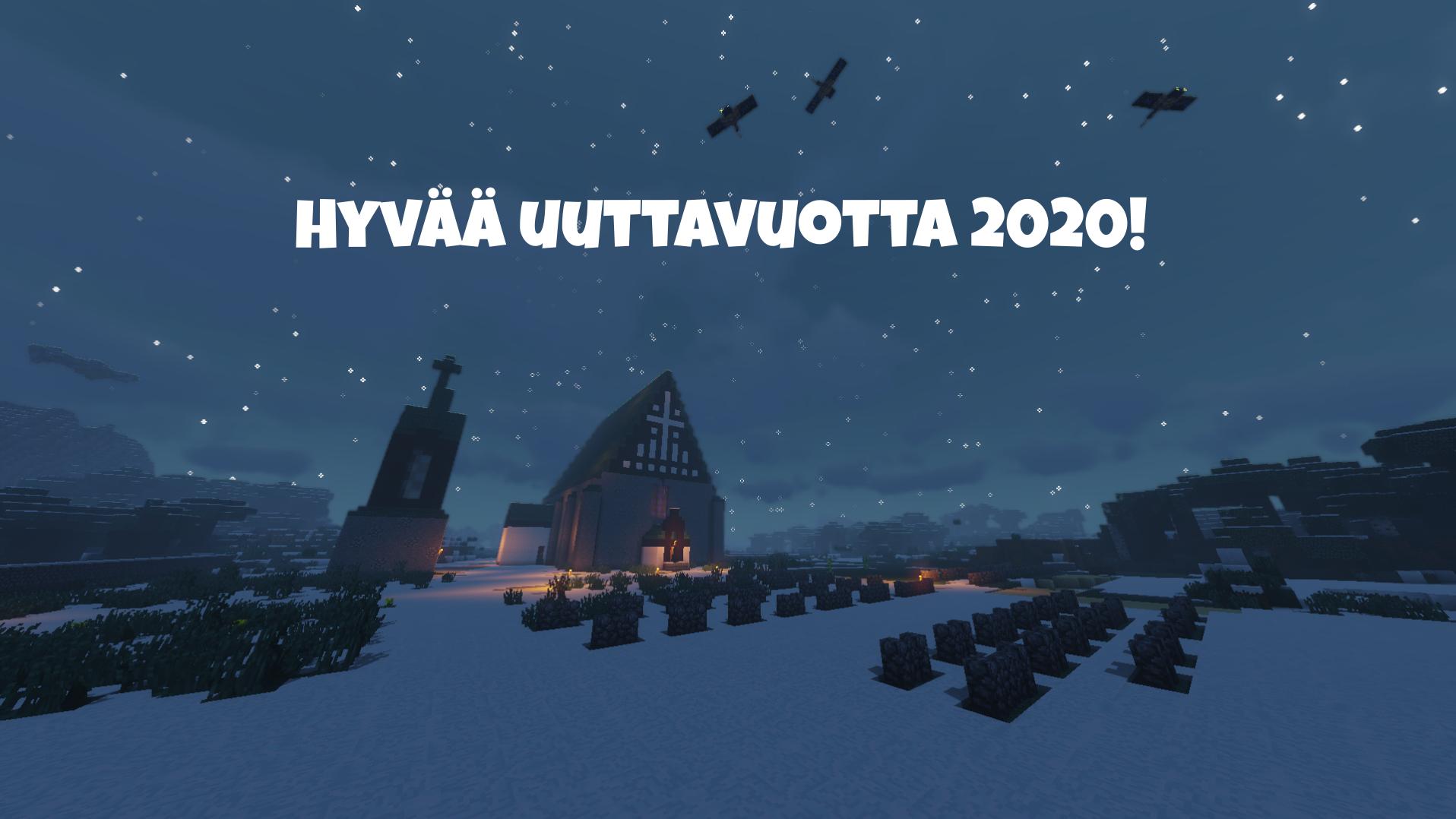 Hyvää uutta vuotta 2020. Kirkko ja luminen maisema.
